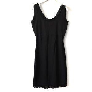 Spanx Black Lace Trim Scoop Sleeveless Dress Slip